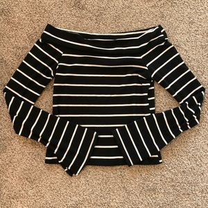 Off the shoulder fitted long sleeve stripe top